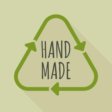 Illustratie van een lang recycleer teken van de schaduwlijnkunst met de GEMAAKTE HAND HAND Stockfoto - 83077668