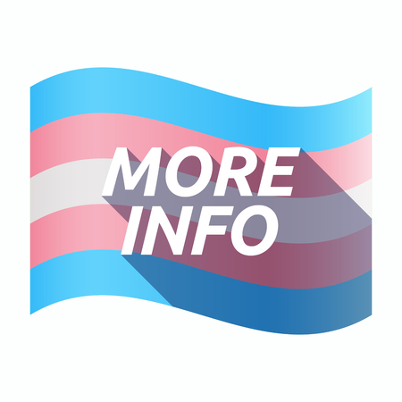 sexuality: Illustration of an isolated long shadow transgender flag with    the text MORE INFO