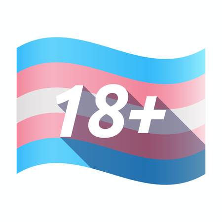 Illustration of an isolated long shadow transgender flag with    the text 18+