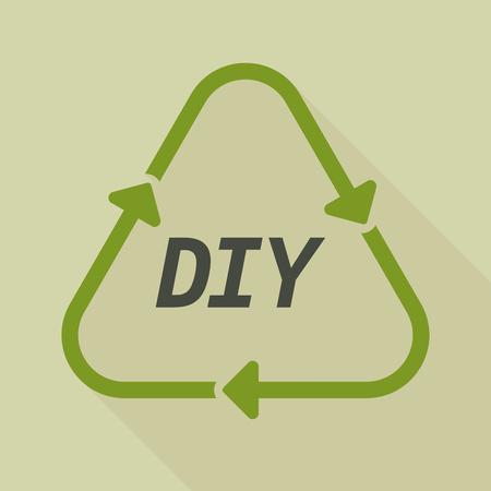 Illustratie van een lang schaduw lijn kunst recycle teken met de tekst DIY Stock Illustratie