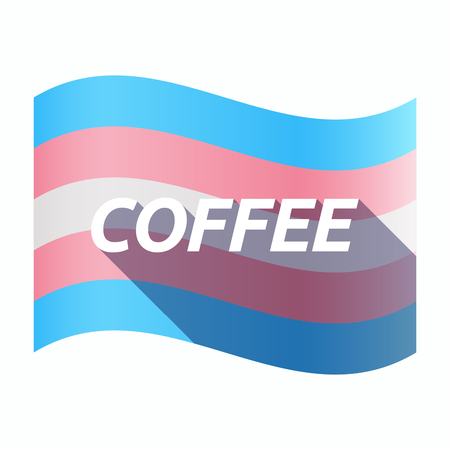 trans gender: Illustration of an isolated long shadow transgender flag with    the text COFFEE Illustration