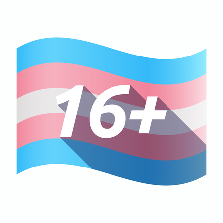 Illustration of an isolated long shadow transgender flag with    the text 16+