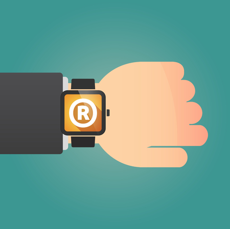 Hand with a long shadow smart watch with    the registered trademark symbol Ilustração