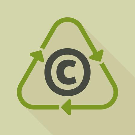Illustratie van een lang recycleer teken van de schaduwlijnkunst met het auteursrechtteken Stock Illustratie