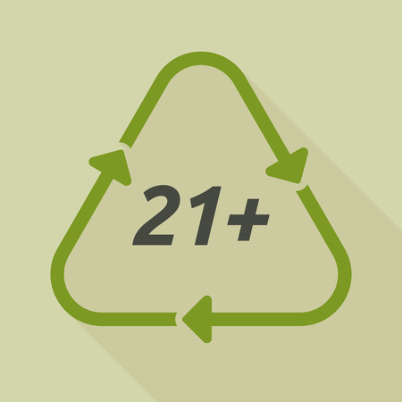 approval rate: Illustration of a long shadow line art recycle sign with    the text 21+ Illustration