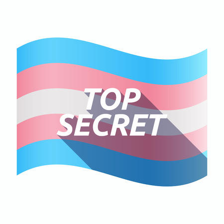 Illustration of an isolated long shadow transgender flag with    the text TOP SECRET