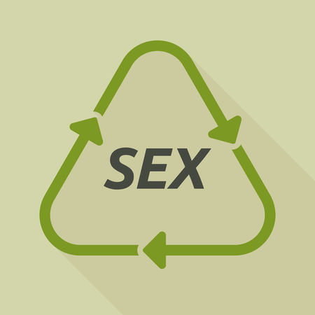 Illustration of a long shadow line art recycle sign with    the text SEX Illustration