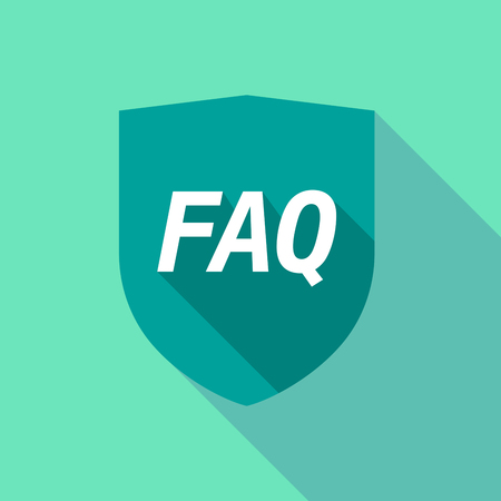 Illustration of a long shadow shield with    the text FAQ
