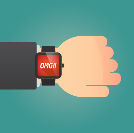 Hand with a long shadow smart watch with    the text OMG!! Illustration