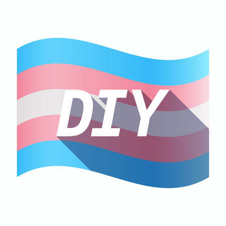 Illustration of an isolated long shadow transgender flag with    the text DIY Illustration