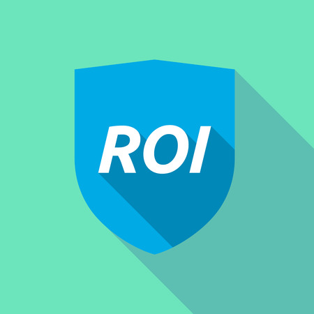 Illustration of a long shadow shield with    the return of investment acronym ROI