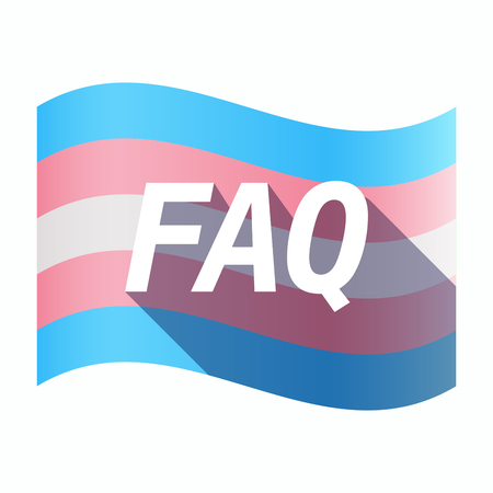 Illustration of an isolated long shadow transgender flag with    the text FAQ