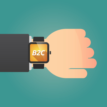 Hand with a long shadow smart watch with    the text B2C