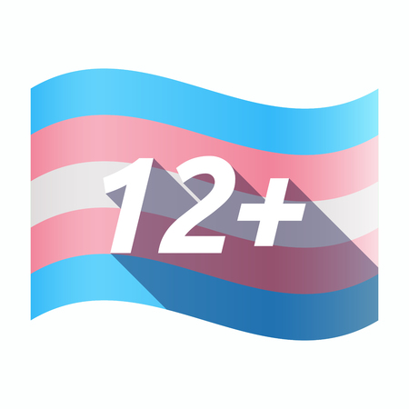 Illustration of an isolated long shadow transgender flag with    the text 12+