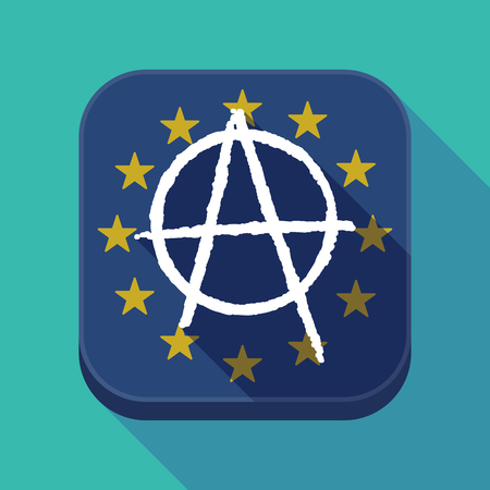 Illustration of a long shadow European Union flag square rounded corners button with an anarchy sign