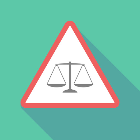 crime prevention: Illustration of a long shadow warning signal with a justice weight scale sign Illustration
