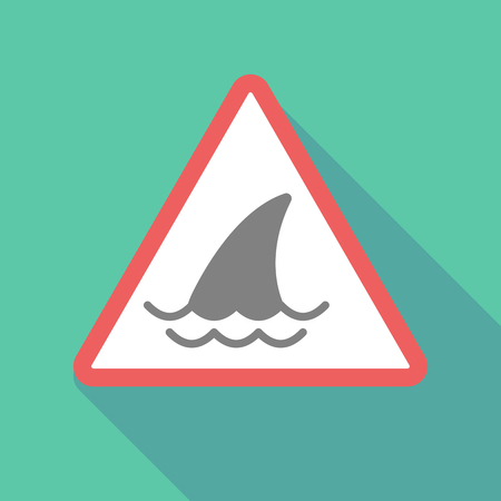 great danger: Illustration of a long shadow warning signal with a shark fin Illustration