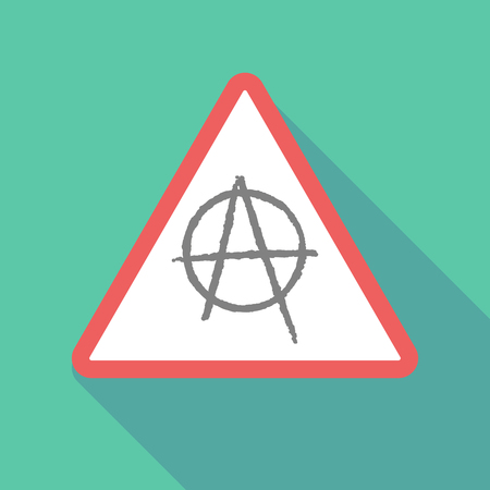 Illustration of a long shadow warning signal with an anarchy sign