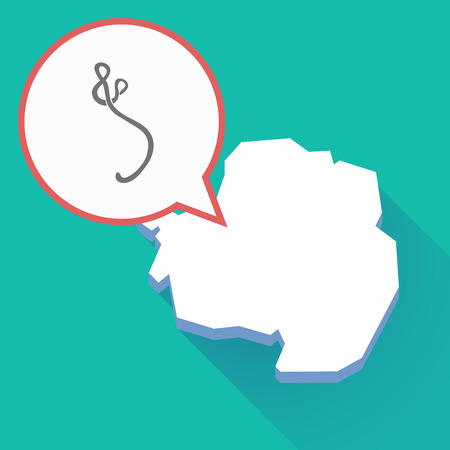 Illustration of a long shadow Antarctica map, a comic balloon and  an ebola sign