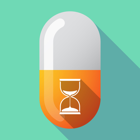 Illustration of a long shadow medical pill with a sand clock