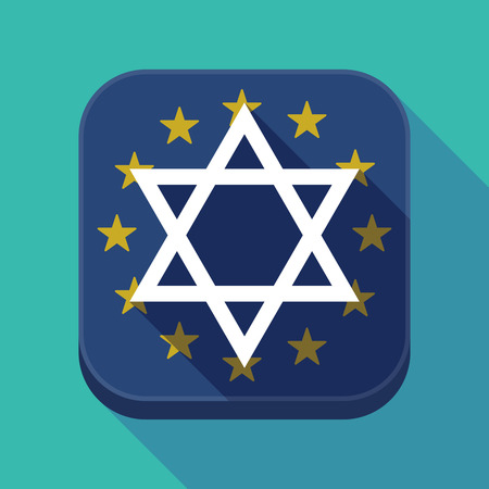 jewish community: Illustration of a long shadow European Union flag square rounded corners button with a David star