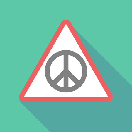 peace risk: Illustration of a long shadow warning signal with a peace sign