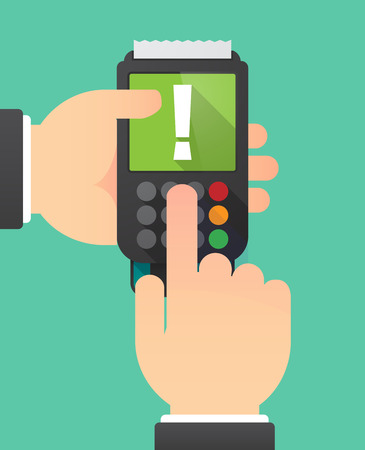 fascinação: Ilustração de duas mãos segurando um dataphone com um sinal de admiração