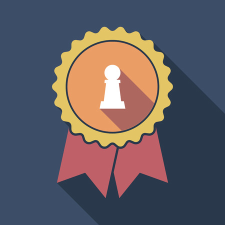 Illustration of a long shadow flat color badge with a  pawn chess figure