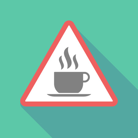 Illustration of a long shadow warning signal with a cup of coffee