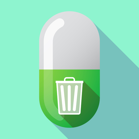 Illustration of a long shadow medical pill with a trash can Illustration