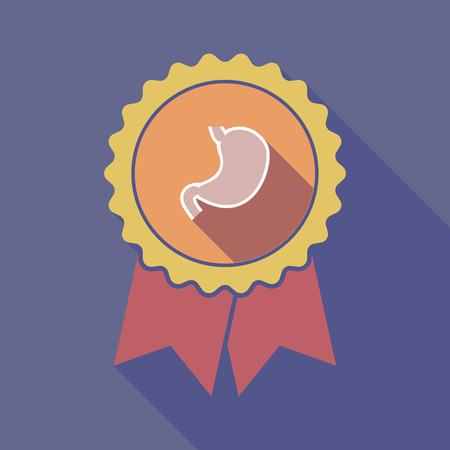 digestive: Illustration of a long shadow flat color badge with  a healthy human stomach icon Illustration