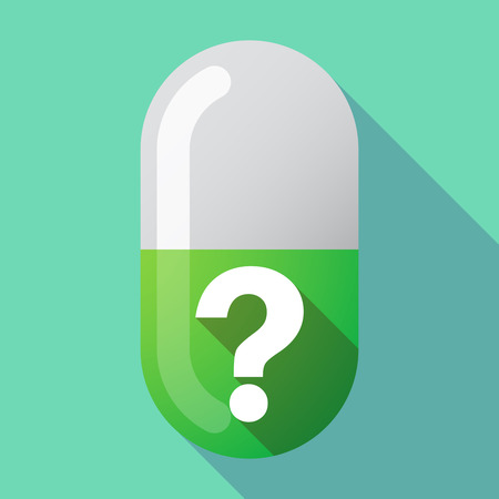 Illustration of a long shadow medical pill with a question sign