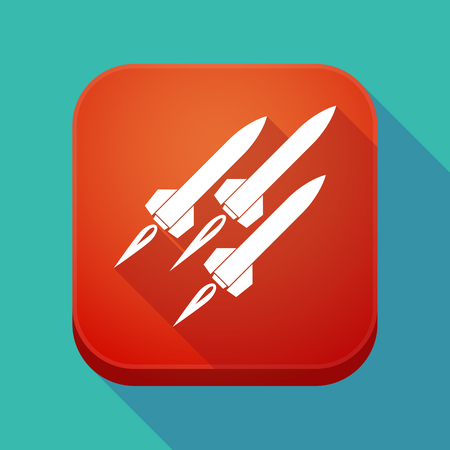 Illustration of a long shadow square applicatio button with missiles Illustration