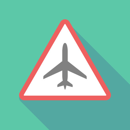 Illustration of a long shadow warning signal with a plane Illustration