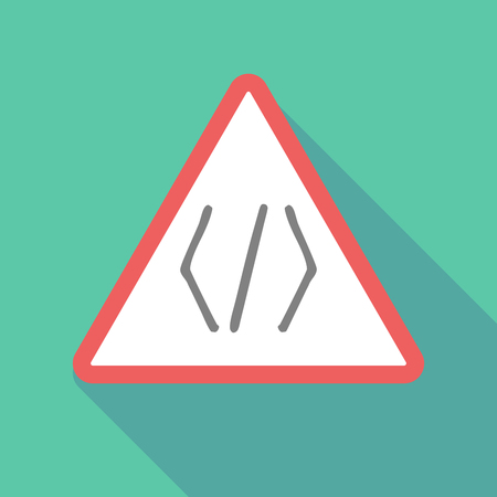 css: Illustration of a long shadow warning signal with a code sign