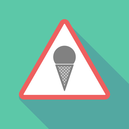 Illustration of a long shadow warning signal with a cone ice cream