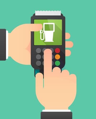 Illustratie van twee handen holdin een dataphone met een benzinestation