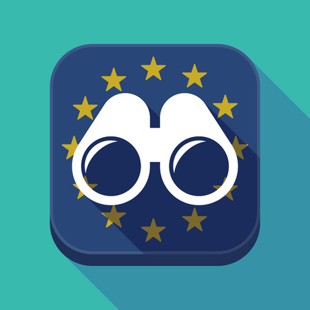 Illustration of a long shadow European Union flag square rounded corners button with a binoculars Illustration