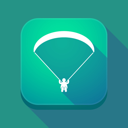 Illustration of a long shadow square applicatio button with a paraglider