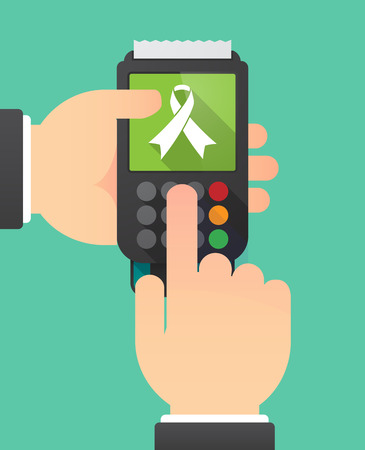 Illustration of two hands holdin a dataphone with an awareness ribbon Illustration