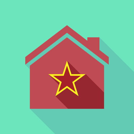 Illustration of a long shadow house with  the red star of communism icon
