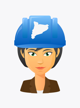 Illustration of a cartoon worker avatar with a working helmet and  the map of Catalonia