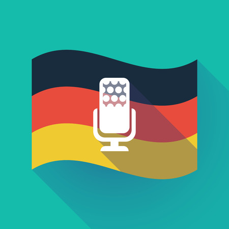 Illustration of a long shadow waving Germany flag with  a microphone sign Illustration