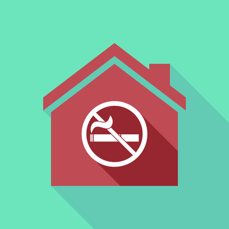 Illustration of a long shadow house with  a no smoking sign