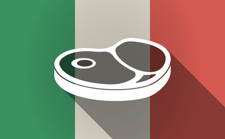 Illustration of a long shadow Italy flag with  a steak icon Ilustrace