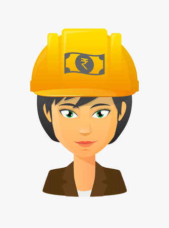 Illustration of a cartoon worker avatar with a working helmet and  a rupee bank note icon