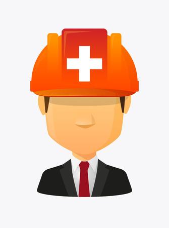 Illustration eines Karikaturarbeitskraftavataras mit einem Arbeitssturzhelm und der Schweizer Flagge Standard-Bild - 83502026