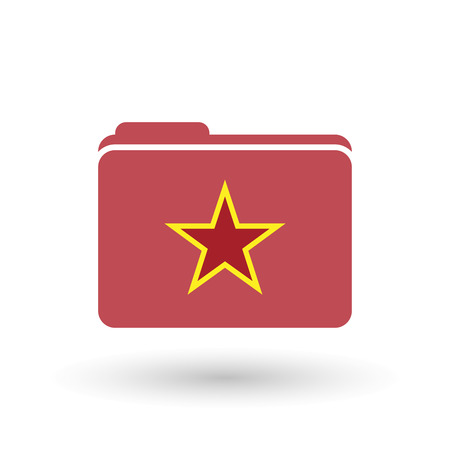 Illustration of an isolated folder with  the red star of communism icon Ilustracja
