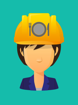 Illustration of a cartoon worker avatar with a working helmet and  a dish, knife and a fork icon