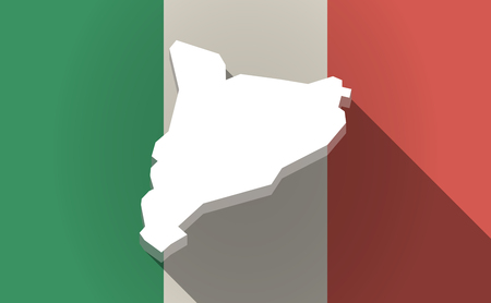 italia: Illustration of a long shadow Italy flag with  the map of Catalonia Illustration